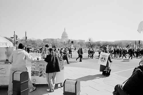 Washington DC.District of Columbia.USA.January 27, 2007..An anti-war demonstration on the National Mall in Washington DC. Tens of thousands massed to demand that Congress cut off funds for the Iraq war.  ....
