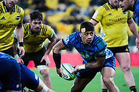 Blues captain Augustine Pulu passes during the Super Rugby match between the Hurricanes and Blues at Westpac Stadium in Wellington, New Zealand on Saturday, 7 July 2018. Photo: Dave Lintott / lintottphoto.co.nz