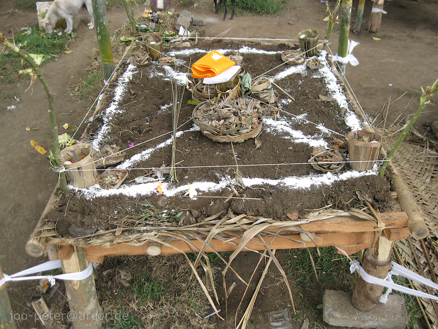 a place is marked ritually for upcomming cremation of the same day, village Mas, Bali, archipelago Indonesia