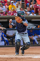 Cedar Rapids Kernels catcher Caleb Hamilton (2) throws down to second base between innings during a Midwest League game against the Wisconsin Timber Rattlers on August 6, 2017 at Fox Cities Stadium in Appleton, Wisconsin.  Cedar Rapids defeated Wisconsin 4-0. (Brad Krause/Four Seam Images)