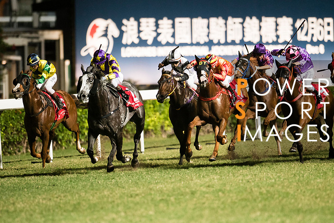 Jockey #7 Nash Rawiller ((2L) riding Who Else But You during the race 7 of during Hong Kong Racing at Happy Valley Race Course on November 08, 2017 in Hong Kong, China. Photo by Marcio Rodrigo Machado / Power Sport Images