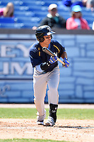Myrtle Beach Pelicans third baseman Luis Mendez (10) looks to bunt during a game against the Wilmington Blue Rocks on April 27, 2014 at Frawley Stadium in Wilmington, Delaware.  Myrtle Beach defeated Wilmington 5-2.  (Mike Janes/Four Seam Images)