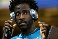Wilfried Bony of Swansea City arrives ahead of the Premier League match between Swansea City and Liverpool at the Liberty Stadium, Swansea, Wales on 22 January 2018. Photo by Mark Hawkins / PRiME Media Images.