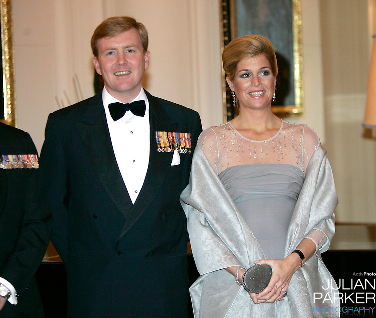 Crown Prince Willem-Alexander & Crown Princess Maxima of the Netherlands six-day tour of Australia..State Dinner at the Governor's House in Canberra..