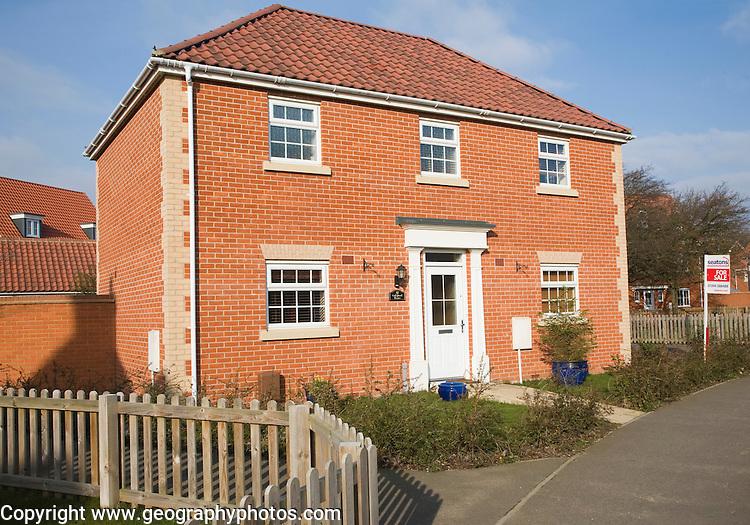 Modern detached house for sale on new estate, Rendlesham, Suffolk, England