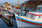 Seattle, Washington<br /> Colorful boats at the Center for Wooden Boats on Lake Union