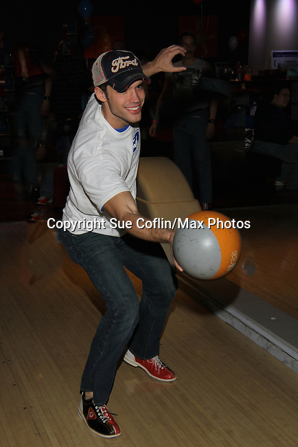 "One Life To Live's David Gregory ""Ford"" bowls at The Seventh Annual Daytime Stars and Strikes benefitting The American Cancer Society hosted by Elizabeth Keifer and Jerry VerDorn with actors from One Life To Live, All My Children, As The World Turns and Guiding Light on October 9, 2010 in New York City, New York. (Photo by Sue Coflin/Max Photos)"