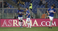 Calcio, Serie A: AS Roma - Sampdoria, Roma, stadio Olimpico, 28 gennaio 2018. i<br /> Sampdoria's Duv&agrave;n Zapata (l) celebrates after scoring with his teammates during the Italian Serie A football match between AS Roma and Sampdoria at Rome's Olympic stadium, January 28, 2018.<br /> UPDATE IMAGES PRESS/Isabella Bonotto