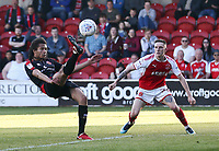 Walsall's Kory Roberts and Fleetwood Town&rsquo;s Ashley Hunter <br /> <br /> Photographer Leila Coker/CameraSport<br /> <br /> The EFL Sky Bet League One - Fleetwood Town v Walsall - Saturday 5th May 2018 - Highbury Stadium - Fleetwood<br /> <br /> World Copyright &copy; 2018 CameraSport. All rights reserved. 43 Linden Ave. Countesthorpe. Leicester. England. LE8 5PG - Tel: +44 (0) 116 277 4147 - admin@camerasport.com - www.camerasport.com