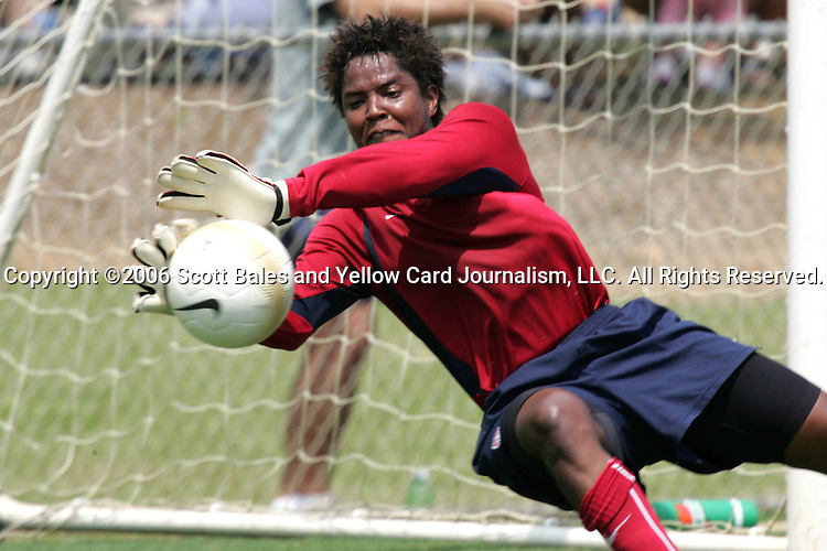 28 July 2006: Goalkeeper Brianna Scurry. The United States Women's National Team trained at SAS Soccer Park in Cary, North Carolina, in preparation for an International Friendly match against Canada to be played on Sunday, July 30.