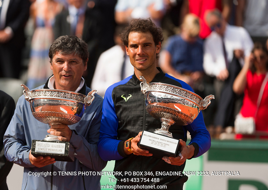 RAFAEL NADAL (ESP), TONI NADAL<br /> <br /> TENNIS - FRENCH OPEN - ROLAND GARROS - ATP - WTA - ITF - GRAND SLAM - CHAMPIONSHIPS - PARIS - FRANCE - 2017  <br /> <br /> <br /> <br /> &copy; TENNIS PHOTO NETWORK
