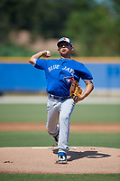 Toronto Blue Jays pitcher Jonatan Bernal (53) during an Instructional League game against the Philadelphia Phillies on September 27, 2019 at Englebert Complex in Dunedin, Florida.  (Mike Janes/Four Seam Images)