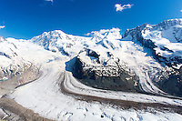 Gornergrat mountain range and Gorner glacier, Gornergletscher, above Zermatt in the Swiss Alps, Switzerland