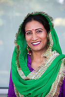 Indian Woman Wearing Traditional Green & Purple Clothing, Renton Multicultural Festival 2017, WA, USA.