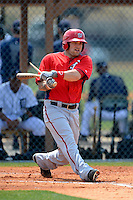 Washington Nationals outfielder Justin Bloxom #7 during a minor league Spring Training game against the Detroit Tigers at Tiger Town on March 22, 2013 in Lakeland, Florida.  (Mike Janes/Four Seam Images)