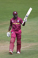 Andre Russell (West Indies) acknowledges his half century scored from 23 deliveries during West Indies vs New Zealand, ICC World Cup Warm-Up Match Cricket at the Bristol County Ground on 28th May 2019