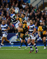 Nick Abendanon of Bath Rugby and Ken Pisi of Northampton Saints compete for he high ball during the Amlin Challenge Cup Final match between Bath Rugby and Northampton Saints at Cardiff Arms Park on Friday 23rd May 2014 (Photo by Rob Munro)