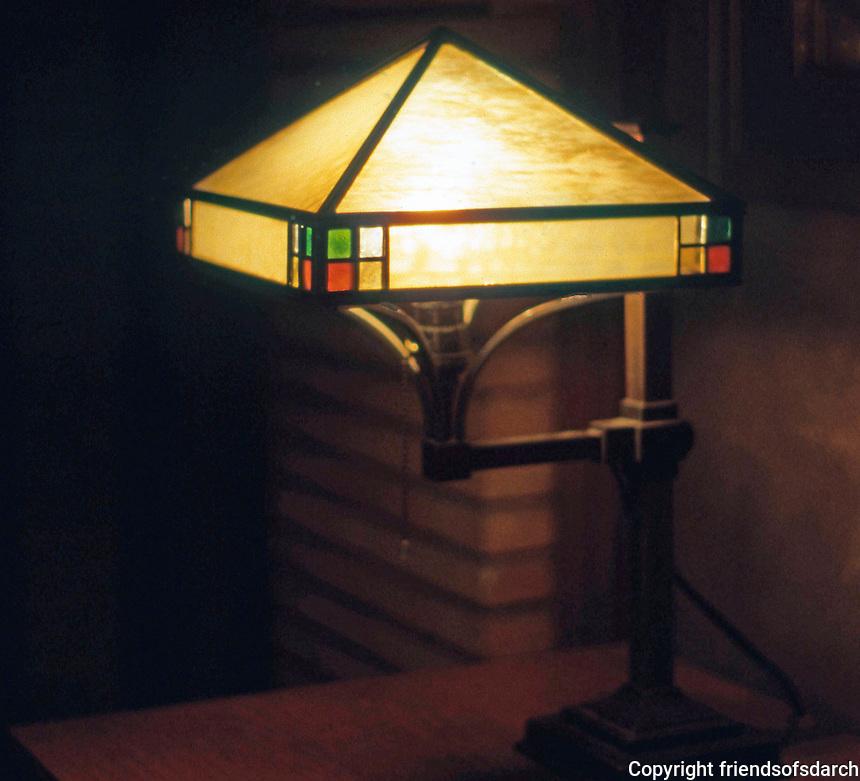 F.L. Wright: Martin House. Interior lamp.  Photo '88.