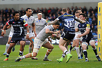 Matt Banahan of Bath Rugby makes his way to the try line. Aviva Premiership match, between Sale Sharks and Bath Rugby on May 6, 2017 at the AJ Bell Stadium in Manchester, England. Photo by: Patrick Khachfe / Onside Images