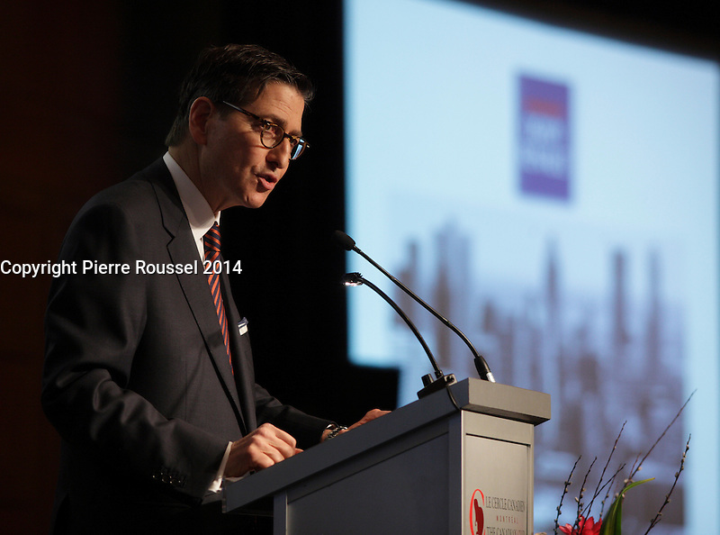 April 14, 2014 - Norman M. Steinberg, Ad E, Global Co-Chair of Norton Rose Fulbright, delivers a speech to the Canadian Club of Montreal.<br /> <br /> Photo : Pierre Roussel