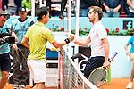 Japanese Kei Nishikori and french Richard Gasquet during Mutua Madrid Open Tennis 2016 in Madrid, May 05, 2016. (ALTERPHOTOS/BorjaB.Hojas)