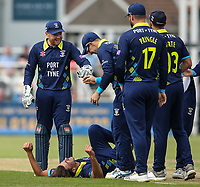 Durham's Matt Dixon lies prone after being struck by a ball which was subsequently caught by Tom Latham to dismiss Northants Steelbacks' Ben Duckett <br /> <br /> Photographer Andrew Kearns/CameraSport<br /> <br /> Royal London One Day Cup - Northamptonshire v Durham - Sunday 27th May 2018 - The County Ground, Northampton<br /> <br /> World Copyright &copy; 2018 CameraSport. All rights reserved. 43 Linden Ave. Countesthorpe. Leicester. England. LE8 5PG - Tel: +44 (0) 116 277 4147 - admin@camerasport.com - www.camerasport.com