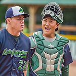 9 July 2015: Vermont Lake Monsters catcher Seong-min Kim smiles outside the dugout prior to a game against the Mahoning Valley Scrappers at Centennial Field in Burlington, Vermont. The Lake Monsters rallied to tie the game 4-4 in the bottom of the 9th, but fell to the Scrappers 8-4 in 12 innings of NY Penn League play. Mandatory Credit: Ed Wolfstein Photo *** RAW Image File Available ****