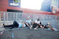 MOSCOW, RUSSIA - June 16, 2018: World Cup fans rest at the FIFA Fan Fest at Vorobyovy Gory (Sparrow Hills) after the Iceland vs. Argentina game at the 2018 FIFA World Cup.