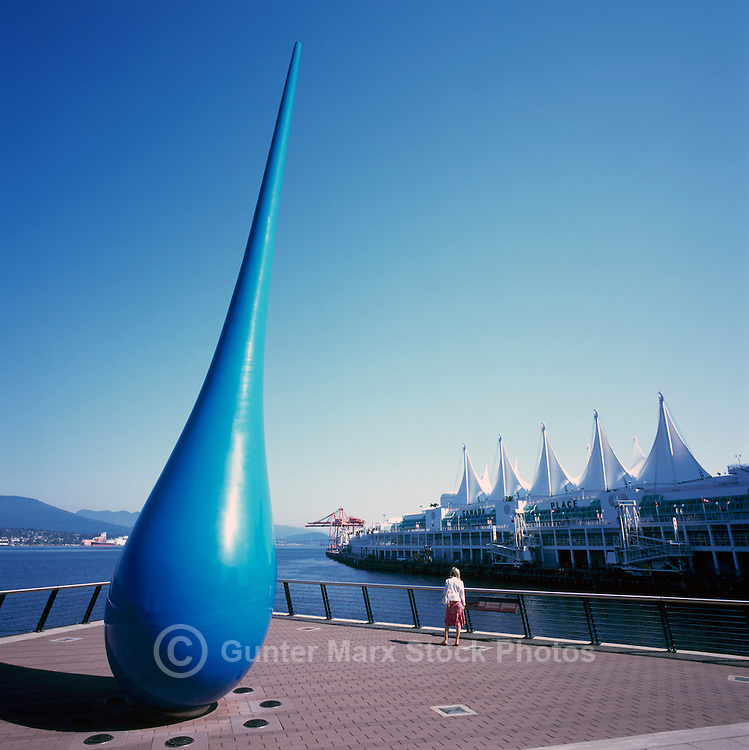 """The Drop"" Sculpture (Artists - Inges Idee) at Convention Centre West overlooks Canada Place and Burrard Inlet, Downtown Vancouver, British Columbia, Canada"