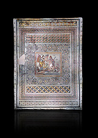 Roman mosaics - Persius & Andromeda Mosaic. Poseidon Villa Ancient Zeugama, 2nd - 3rd century AD . Zeugma Mosaic Museum, Gaziantep, Turkey.   Against a black background.