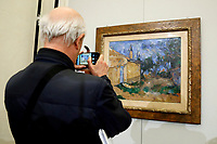 Painting by Paul Cezanne, Le Cabanon de Jourdan, 1906, Stolen and found in Rome on 1998<br /> Rome May 3rd 2019. Quirinale Palace. Preview of the exhibition 'The art of rescuing art' , a collection of antique artworks, paintings, statues, jewelry and terracotta artefacts rescued from the command of Carabinieri for the protection of the cultural heritage in 50 years.  Many of these artworks were stolen on commission for private collections.<br /> Photo di Samantha Zucchi/Insidefoto
