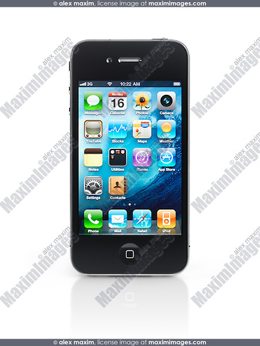 Apple iPhone 4 smartphone with desktop icons on its display isolated with clipping path on white background. High quality photo.