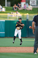David Fletcher (15) of the Salt Lake Bees on defense against the New Orleans Baby Cakes at Smith's Ballpark on June 8, 2018 in Salt Lake City, Utah. Salt Lake defeated New Orleans 4-0.  (Stephen Smith/Four Seam Images)