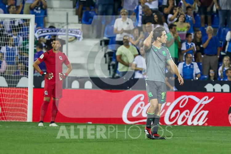 Real Sociedad's Aritz Elustondo during La Liga match. August 24, 2018. (ALTERPHOTOS/A. Perez Meca)