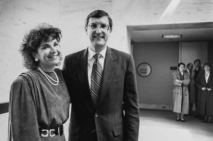 Lucy Calautti, (wife of Sen. Conrad) and Sen. Kent Conrad, D-N.D., manage to break a smile for the camera while some of his staffers look on after retire announcement on April 6, 1992. (Photo by Laura Patterson/CQ Roll Call via Getty Images)