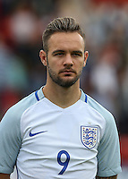 Adam Armstrong (Barnsley, loan from Newcastle United) of England during the International match between England U20 and Brazil U20 at the Aggborough Stadium, Kidderminster, England on 4 September 2016. Photo by Andy Rowland / PRiME Media Images.