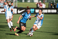 Kansas City, MO - Sunday May 07, 2017: Desiree Scott, Kristen Edmonds during a regular season National Women's Soccer League (NWSL) match between FC Kansas City and the Orlando Pride at Children's Mercy Victory Field.