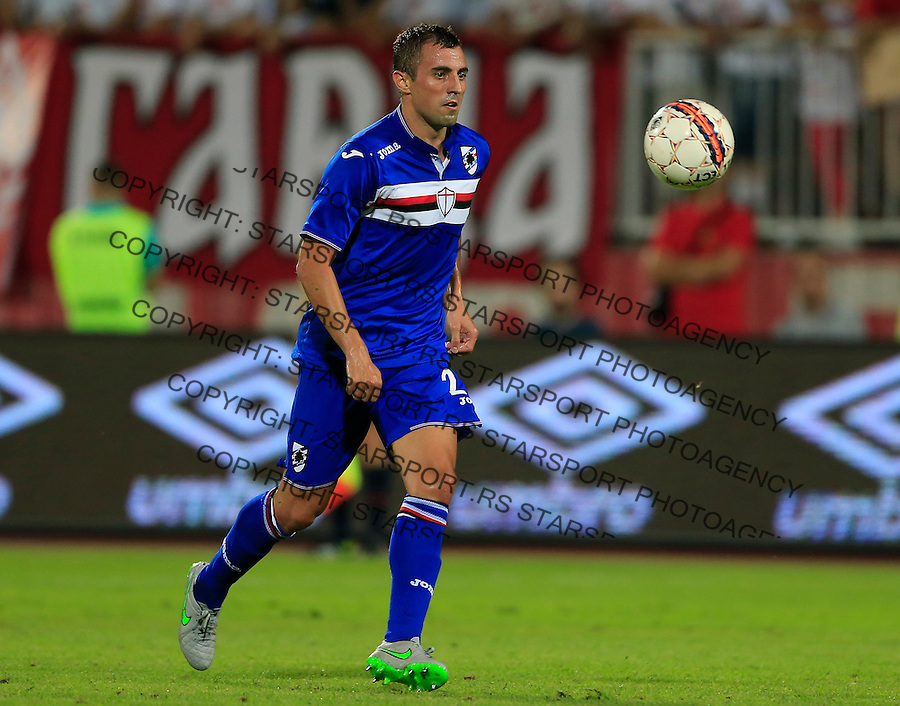 NOVI SAD, SERBIA - AUGUST 06: Nenad Krsticic of Sampdoria in action during the UEFA Europa League Third Qualifying Round 2nd Leg match between Vojvodina Novi Sad and Sampdoria at Karadjordje stadium on August 06, 2015 in Novi Sad, Serbia.  (Photo by Srdjan Stevanovic/Getty Images)