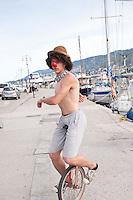 Busker in the port of Mytilene, Lesbos, Greece