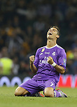 Cristiano Ronaldo of Real Madrid celebrates winning the cup during the Champions League Final match at the Millennium Stadium, Cardiff. Picture date: June 3rd, 2017.Picture credit should read: David Klein/Sportimage