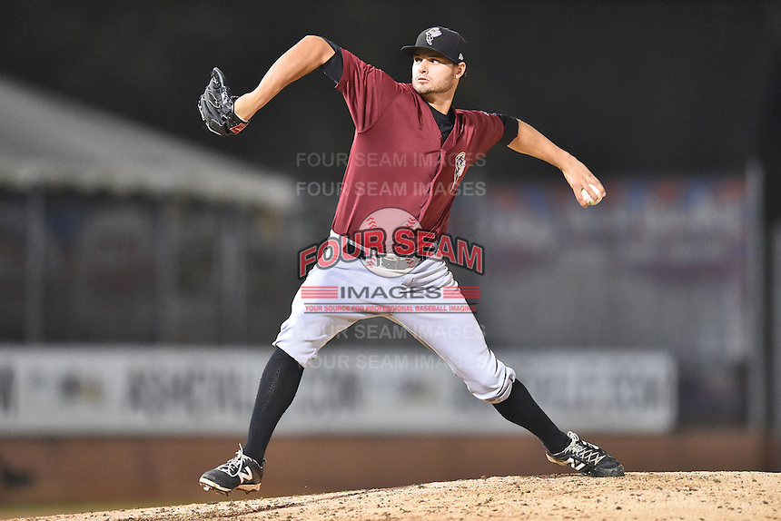 Savannah Sand Gnats pitcher Ben Griset (9) delivers a pitch during game one of the Southern Division South Atlantic League Playoffs against the Asheville Tourists on September 9, 2015 in Asheville, North Carolina. The Tourists defeated the Sand Gnats 5-1. (Tony Farlow/Four Seam Images)
