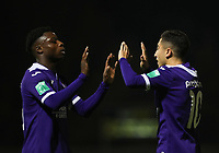 20191125 - WOLVERTEM: Anderlecht's Jeremy Doku (left) and Anouar Ait El Hadj celebrates the goal during the Belgian Elite U21 league football match between RSC Anderlecht U21 and KV Mechelen U21 on Monday 25th of November 2019 at F. Lathouwersstadion, Wolvertem Belgium. PHOTO: SEVIL OKTEM|SPORTPIX.BE