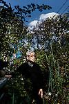 Tokyo, April 14 2014 - Portrait of Kenzaburo Oe in his garden.
