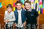 Enjoying the Caherleaheen NS Fashion Show at Ballyroe Hotel on Thursday were Jaden Sugrue, Liam Brennan and Luke Hanafin