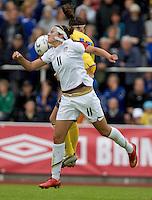 Carli Lloyd battles for the header during the match against Sweden, Landskamp, Sweden, July 5th, 2008.