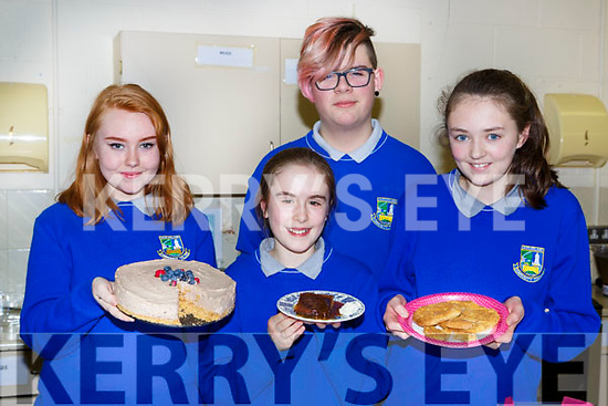 James Brosnan judges  Sarah O'Connor, Janine O'Sullivan and Justynn Balas buns at the Castleisland Community College Bake off on Friday