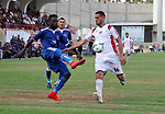 Palestinian Shabab Khan Younis players and Shabab Rafah players compete during Super Cup soccer match, at Palestine Stadium, in Gaza City on September 1, 2018. Photo by Mahmoud Ajour