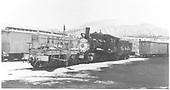 3/4 fireman's-side view of D&amp;RGW #315 with flanger #OH in Durango yards.<br /> D&amp;RGW  Durango, CO  1950