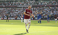 West Ham United's Lucas Perez celebrates scoring his side's second goal<br /> <br /> Photographer Rob Newell/CameraSport<br /> <br /> The Premier League - West Ham United v Leicester City - Saturday 20th April 2019 - London Stadium - London<br /> <br /> World Copyright © 2019 CameraSport. All rights reserved. 43 Linden Ave. Countesthorpe. Leicester. England. LE8 5PG - Tel: +44 (0) 116 277 4147 - admin@camerasport.com - www.camerasport.com