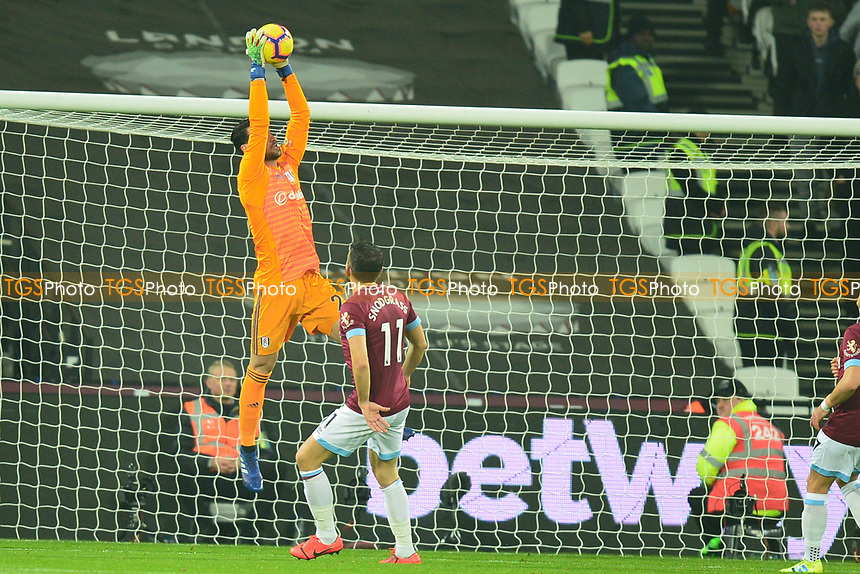 Sergio Rico of Fulham jumps and catches a cross during West Ham United vs Fulham, Premier League Football at The London Stadium on 22nd February 2019